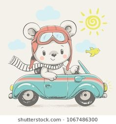 Cute bear driving the car cartoon hand drawn vector illustration. Can be used for t-shirt print, kids wear fashion design, baby shower invitation card. Cartoon Elephant, Baby Cartoon, Cute Cartoon, Illustration Mignonne, Cute Illustration, Baby Shower Invitation Cards, Baby Shower Cards, Animal Drawings, Cute Drawings