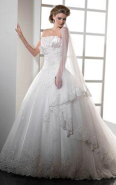 Striking A-line Floor-length Appliques Wedding Dress, Elegant Dresses
