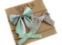 Big Baby Hair Bow, FREE SHIPPING, Baby Shower Gift Set, Girls Headband, Newborn Hair Bows, Tan Nylon Headband, Gray Mint Hair Bows by MiniSwagTextiles on Etsy