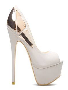 White & gold pump heels
