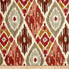 P/Kaufmann Harlequin Kilim Nude from @fabricdotcom  Screen printed on slub duck cloth (slub cloth has a linen appearance), this versatile medium weight cotton fabric is perfect for window accents (draperies, valances, curtains and swags), accent pillows, bed skirts, duvet covers, slipcovers , upholstery and other home decor accents. Create handbags, tote bags, aprons and more. Colors include shades of brown, burnt orange, mustard, grey, and white accents.