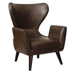Traditional Brown Leather-Like Vinyl Accent Chair