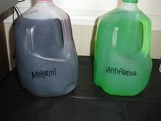 "Cars Party Drinks- ""Motoroil"" & ""Antifreeze"""