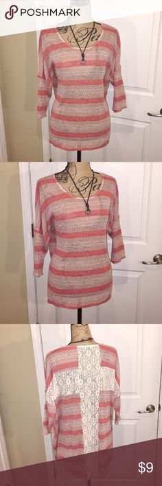 Living Doll Los Angeles tunic Lightweight tunic with crochet detail down back of tunic. Great top for leggings. Tops