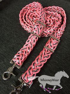 Coral and zebra barrel racing reins, www.whinneywear.com