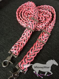 Coral and zebra barrel racing reins, www.whinneywear.com