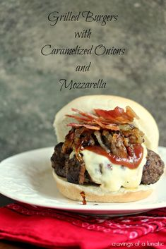 Grilled Burger with Caramelized Onions, Mozzarella and Bacon