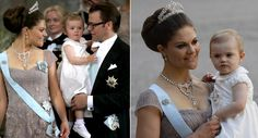 Baby Princess Estelle of Sweden with her parents Crown Princess Victoria of Sweden and Prince Daniel of Sweden. She was the maid of honour on the wedding of her aunt Princess Madeleine of Sweden with Christopher O'Neill