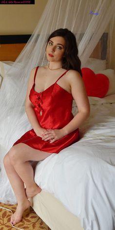 HOT VALENTINES LINGERIE  VIntage Red Satin by SilkandSatinRescue