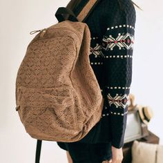 usd29.99/Image of Sweet Lace Spliced Brown Canvas Backpack
