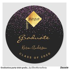 Shop Graduation party 2020 graduate black purple cap classic round sticker created by EllenMariesParty. Graduation Celebration, Round Stickers, Different Shapes, Party Hats, Custom Stickers, Black Backgrounds, Pink Purple, Activities For Kids, Diy Projects