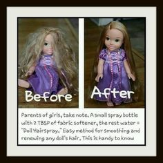 """Parents of girls, take note. A small spray bottle with 2 TBSP of fabric softener, the rest water = """"Doll Hairspray."""" Easy method for smoothing and renewing any doll's hair including Barbie! (Good to know for the future). Barbie needs a makeover! Little Ones, Little Girls, Little Girl Crafts, Little Girl Toys, Kids Girls, Do It Yourself Inspiration, Hair Inspiration, For Elise, Ideias Diy"""