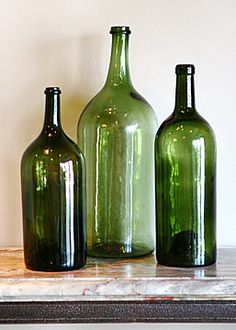 Collection of Three Oversized French Vintage Wine Bottles