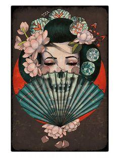 Death Becomes Her Japanese Geisha Fine Art Print Amy Dowell Tattoo Lithograph