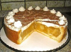 Backrezepte : Apfeltorte mit Sahne und Zimt No Bake Cake, Tiramisu, Bread, Cookies, Sweet, Ethnic Recipes, Desserts, Food, German