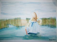 Lady bathing in pond.  Watercolor with border. Approximately 9x12.  You will be…