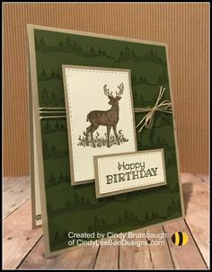 Stampin' Up Rustic Retreat – Cindy Lee Bee Designs Masculine Birthday Cards, Birthday Cards For Men, Masculine Cards, Male Birthday, Birthday Stuff, Bee Design, Fathers Day Cards, Stamping Up Cards, Animal Cards