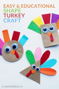 Practice fine motor skills and basic shapes with this adorable paper turkey craf. - Practice fine motor skills and basic shapes with this adorable paper turkey craft for preschoolers. Turkey Crafts Preschool, Thanksgiving Crafts For Toddlers, Crafts For 2 Year Olds, Thanksgiving Crafts For Kids, Thanksgiving Activities, Paper Crafts For Kids, Preschool Art, Thanksgiving Turkey, Easy Crafts