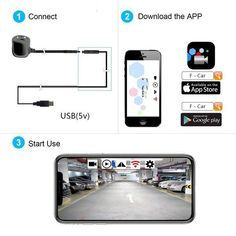 Mirror//Non-Mirror Adjustable GreenYi GreenYi-41 WiFi Blind Spot Camera Car Front Rear Side View Camera Work with Most Smart Devices APP