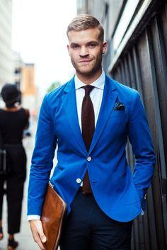 Menswear street style from London - blue blazer and knit tie.#mensfashion #tie