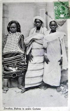 """Africa   """"Natives in arabic costume"""". Zanzibar. Post stamped 1914.    Vintage postcard; photographer A.R.P de Lord"""