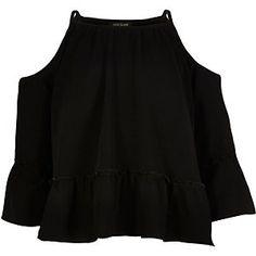 Girls black cold shoulder smock top