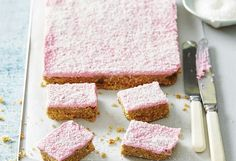 If you love ginger, this is the slice for you! With a sweet coconut, pink-coloured icing, and buttery ginger-infused base, this slice is great for cake stalls.