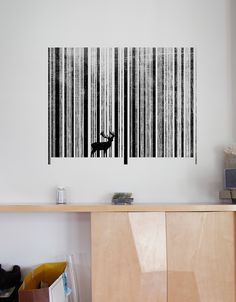 This wall decal is based on Threadless t-shirt design To Scan a Forest by Thomas Aldrich.