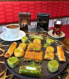 Turkish Tea Turkish Coffee And Turkish Baklava #turkishcoffee #coffeeset #turkishcoffeepot Turkish Coffee Reading, Turkish Coffee Cups, Turkish Tea, Turkish Delight, Pistachio Baklava, Turkish Recipes, Ethnic Recipes, Turkish Baklava, Turkish Plates