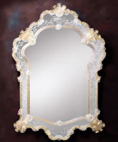 Glass Mirrors   Venetian glass mirror framed in hand etched glass with gold highlights ...