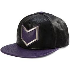 3d49f6a3c4a Marvel Hawkeye Faux Leather Snapback Baseball Cap ( 20) ❤ liked on Polyvore  featuring accessories