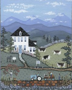 FARMHOUSE Escape anytime when you gaze on this whimsical country scene  FOLK ART painting OoAK Free Shipping  Acrylic on 8x10 inch canvas by artbyregant on Etsy