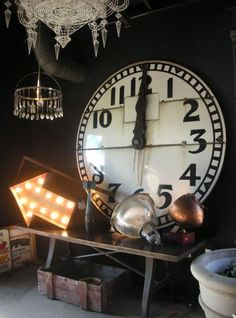 A huge clock in Artefact Design & Salvage of Sonoma, Ca. See their site @ http://www.artefactdesignsalvage.com