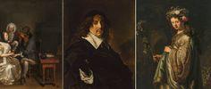 """De gauche à droite : Gabriël Metsu, """"Breakfast""""  1659–62 © State Hermitage Museum, St Petersburg; Frans Hals, Portrait of a Man, before 1660 © State Hermitage Museum, St Petersburg ; Rembrandt van Rijn, Flora, 1634 © State Hermitage Museum, St Petersburg"""