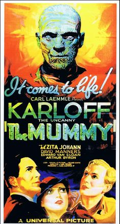 The Mummy 1932 Film Poster Classic Monster Movies, Classic Horror Movies, Classic Monsters, Classic Films, Old Movie Posters, Classic Movie Posters, Movie Poster Art, Vintage Posters, Scary Movies