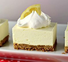 """No Bake Lemon Cheesecake Squares is a great dessert for this time of year! The tart lemon no-bake """"cheesecake"""" filling sitting atop a traditional graham cracker crust will have your mouth singing and will keep your kitchen cool! No Bake Lemon Cheesecake, Cheesecake Squares, Baked Cheesecake Recipe, Best Cheesecake, Homemade Cheesecake, Simple Cheesecake, Cheesecake Crust, Chocolate Cheesecake, Chocolate Ganache"""