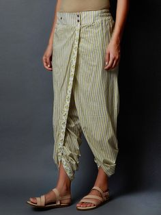 Buy White Green Hand Block Printed Cambric Cotton Dhoti Pants online at Theloom