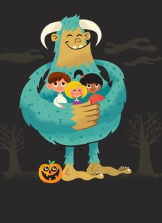 Detail from NEW Halloween book: Trick or Treat: A Happy Haunters Halloween. Illustrated by Tad Carpenter