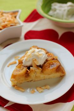 Caramelized Banana Upside-Down Coconut Cake & Coconut Whipped Cream