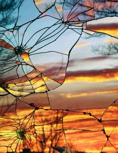 Photographs of Sunsets as Reflected through Shattered Mirrors by Bing Wright 1
