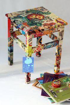 Wood stool Rat Fink Hot Rod