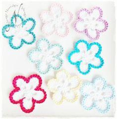 Gehaakte bloem, combineer met kleuren en stel je eigen bloemen samen!