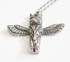 Vintage 70s Totem Pendant Necklace - silver tone turquoise accent, Costume Jewelry by bluebutterflyvintage on Etsy