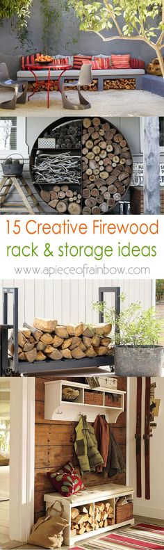 15 firewood storage and creative firewood rack ideas for indoors and outdoors. Lots of great building tutorials and DIY-friendly inspirations! - A Piece of Rainbow
