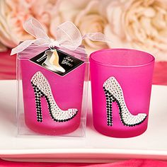Girly High Heel Shoe Votive Candle Holder - Give your girl friends a stunning favor at your next event. These votive candle holders come in the latest trendy hot pink shade and are adorned with a stylish high heel shoe in sparkling rhinestones of silver and black. Every girl's dream fashion item! http://www.favorfavor.com/page/FF/PROD/5478