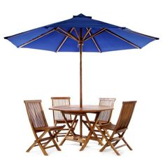 TEAK Outdoor Dining Chairs/Table Sets and Patio Furniture Round Table Set - blue by Individual Patio. $999.00. 48w x 48d x 29h. 6PC ROUND /w BLUECANOPY. 1-7/8 inch Umbrella Hole Includes Brass Grommet and Cap. Teak Oiled Finish. Solid Teak. This patio set is constructed of solid Teak using mortise and tennon joinery. The table is offered in a 48 inch round or octagon shape and has 1-7/8 inch umbrella hole with lower pole stabilizer to accept our Teak Market Umbrella or any o...