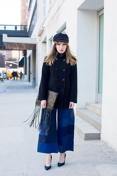 Patchwork Culottes PEACOAT Uniqlo. HAT St James. CASHMERE SWEATER Uniqlo. DENIM CULOTTES Rodebjer. FRINGE CLUTCH By Malene Birger. SHOES Jimmy Choo.