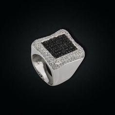 18K White Gold Black & White Diamonds Ring White Diamond Ring, White Diamonds, Diamond Rings, Black Gold, Black And White, Rings For Men, Passion, Jewelry, Design