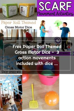 Free Paper Roll Themed Gross Motor Dice -  3 action movements included with dice and dice inserts -  #earthday #grossmotor #freeprintable Movement Activities, Gross Motor Activities, Webbed Hands, Earth Day, Free Paper, Dice, Free Printables, Rolls, Action