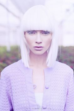 White wig and lilac vintage coat